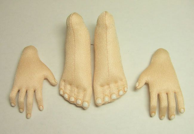 Free Cloth Doll Pattern - Project - how to define finger and toe nails on clothe pattern dolls