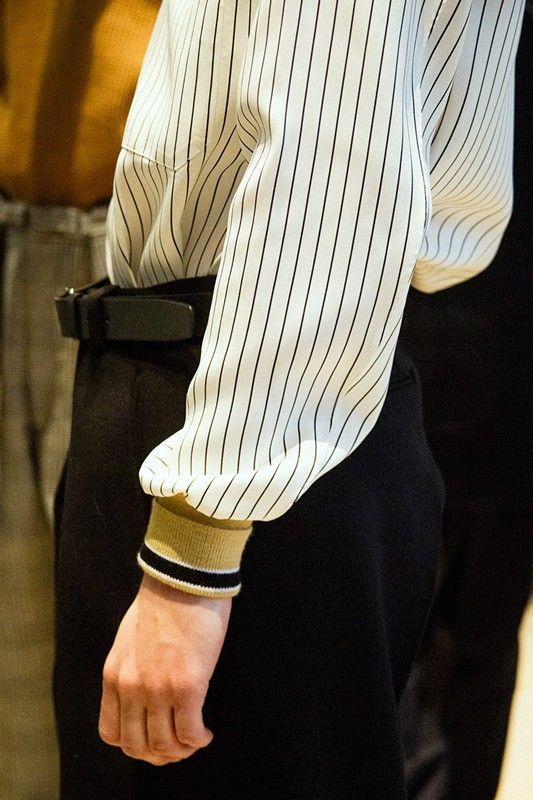 Stripes and cuffs backstage at Jil Sander AW15 Milan. See more here: http://www.dazeddigital.com/fashion/article/23256/1/jil-sander-aw15