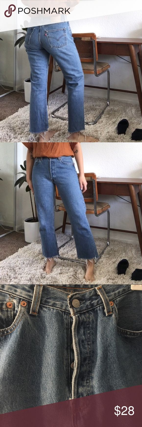 Vintage Levi's 501s Pre-loved vintage condition, fits 28-29, or US size 6-8. I'm a six and they're a little relaxed on me. Has slight wear near the fly, shown in last pic. But they are still in great used condition Levi's Jeans Straight Leg