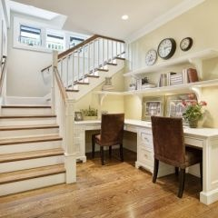 54 best desk under stairs images on pinterest kitchen for Office space basement