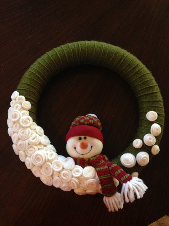 Snowman Winter Wreath by MissRhi on Etsy, $35.00
