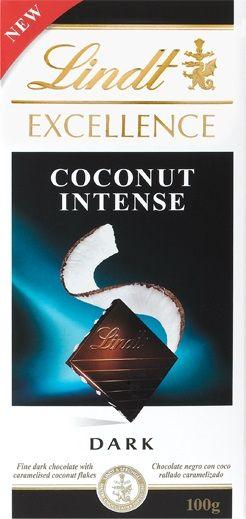 Lindt Excellence Coconut Intense... Μαύρη σοκολάτα με κομματάκια καρύδας. Πολύ ωραίο άρωμα κακάο και καθόλου καρύδας. Νοστιμότατη μαύρη σοκολάτα με τραγανά κομματάκια καρύδας να δίνουν μία ευχάριστη και γευστική νότα! Δεν καλύπτουν την γεύση της σοκολάτας αντίθετα είναι πολύ διακριτικά δίνοντας ένα ιδανικό και ισορροπιμένο αποτέλεσμα!