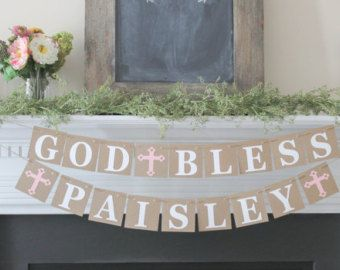 God Bless Banner Baptism Banner for Girl by TheJoyfulHauss on Etsy