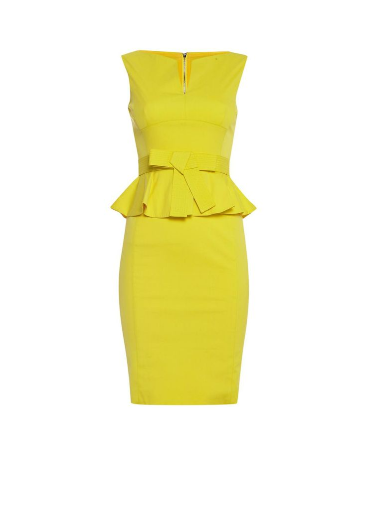 Karen Millen Gele jurk met peplum • de Bijenkorf