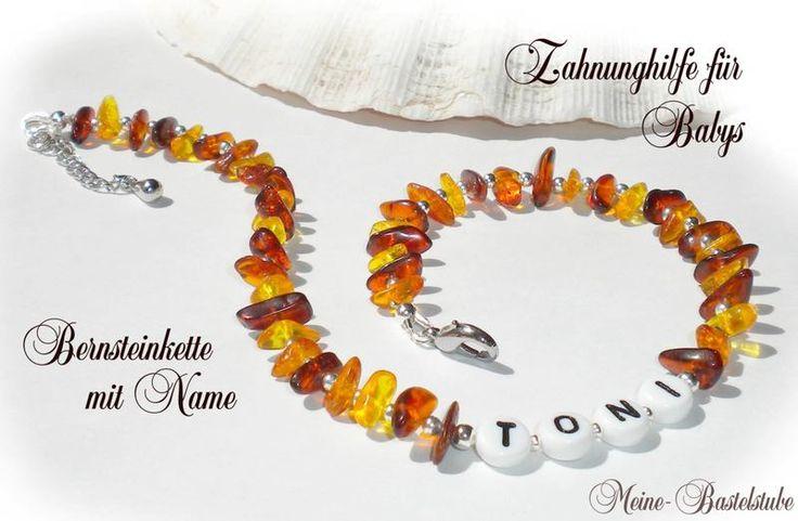 Namensarmbänder - & Ketten - Bernsteinkette mit Name ♥ Namenskette Baby Kinder - ein Designerstück von bastelbienchen bei DaWanda