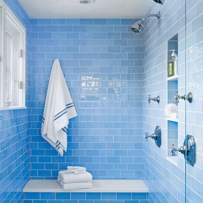 Designer Lynn Morgan Two Showerhead Glassed in Steam Shower room; need a handheld shower also; blue color nice?