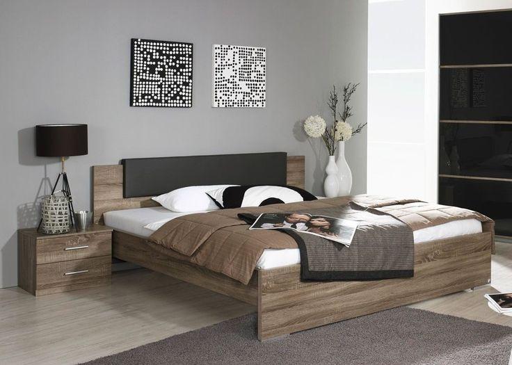 Bettanlage Cholet Eiche Havanna Basalt 8315. Buy now at https://www.moebel-wohnbar.de/futonbett-cholet-mit-nachtkommoden-bettanlage-havanna-basalt-8502.html