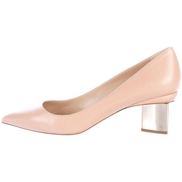 Pre-owned Nicholas Kirkwood Prism Leather Pumps (820 BRL) ❤ liked on Polyvore featuring shoes, pumps, neutrals, nude pumps, leather pointy toe pumps, block heel pumps, leather pointed toe pumps and block heel court shoes