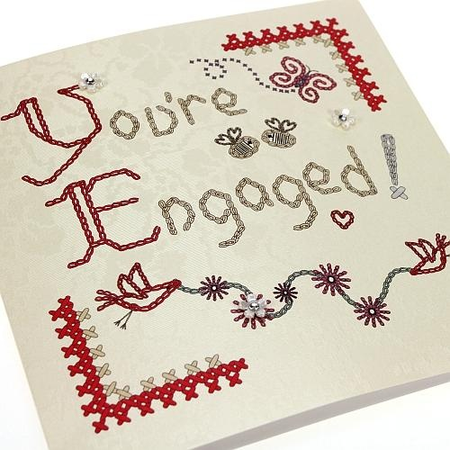 Handmade Homespun Engagement Card - Birds - 'You're Engaged!