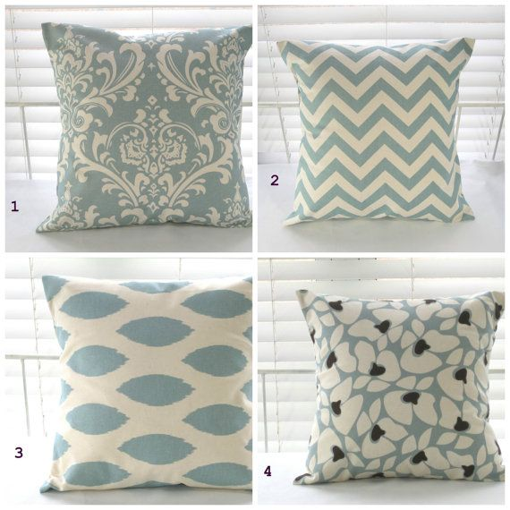 "Pillow, Decorative Pillow, Throw Pillow, Toss Pillow, Accent Pillow, Village Blue and Natural, 1- 16"" x 16   $15.00 each"