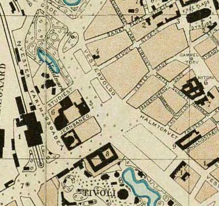 Krak 1888 med Halmtorvet (Rådhuspladsen)