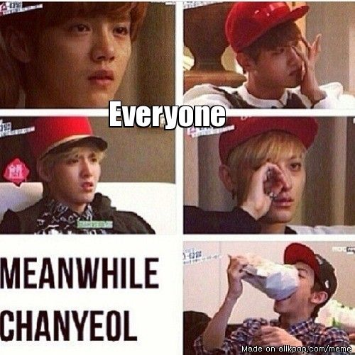When EXO were watching a sad movie in EXO's Showtime. Aaaah ChanYeol x) | allkpop Meme Center