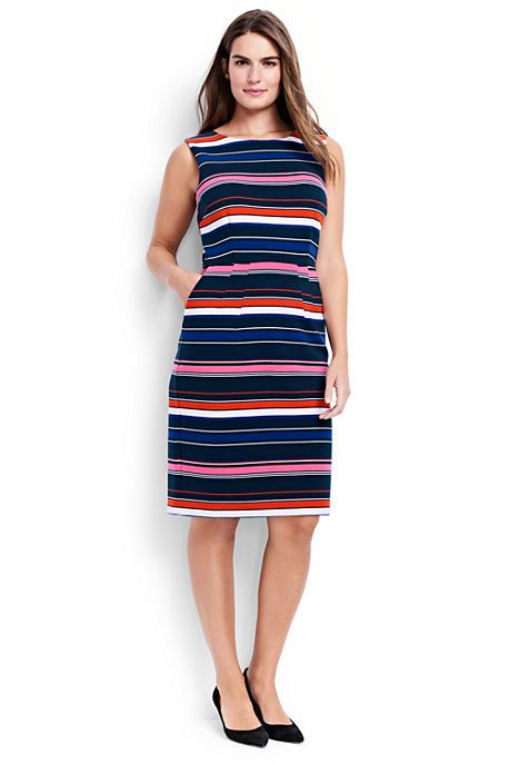Sleeveless Ponte Sheath Dress | Dainty horizontal stripes give this dress a perfectly polished look. Spring is made for you at Lands' End