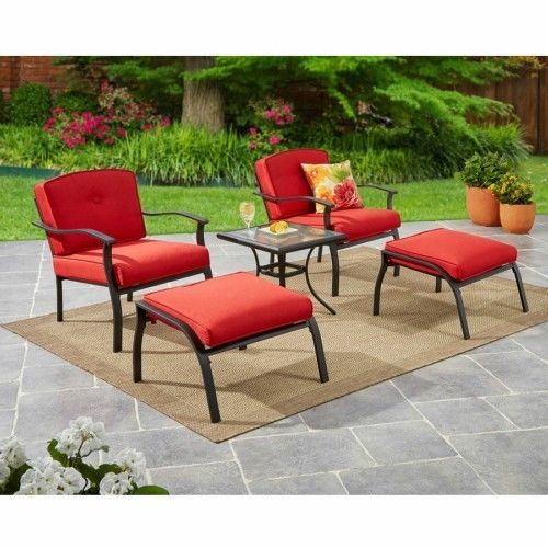 Outdoor Patio Furniture Bistro Set Chair Ottoman Glass Top Table ConversationSet #Mainstays