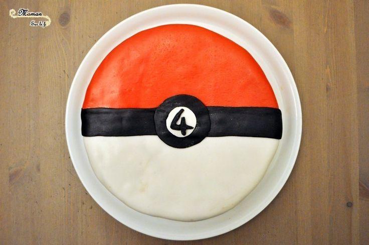 Au fil de leurs anniversaires - Idée gâteau anniversaire fille garçon 2 3 4 5 6 7 8 10 11 12 ans - Pokémon - Gâteau Pokéball rouge blanc et noir - Pâte a sucre et figurines Pokemon - Cake Design - Pâtisserie DIY - Fait Maison- issu du blog Maman Sur Le Fil