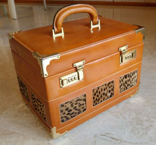 Rare-vanity-cuir-camel-laiton-dore-sac-panthere-veritable-code-qualite-luxe-neuf