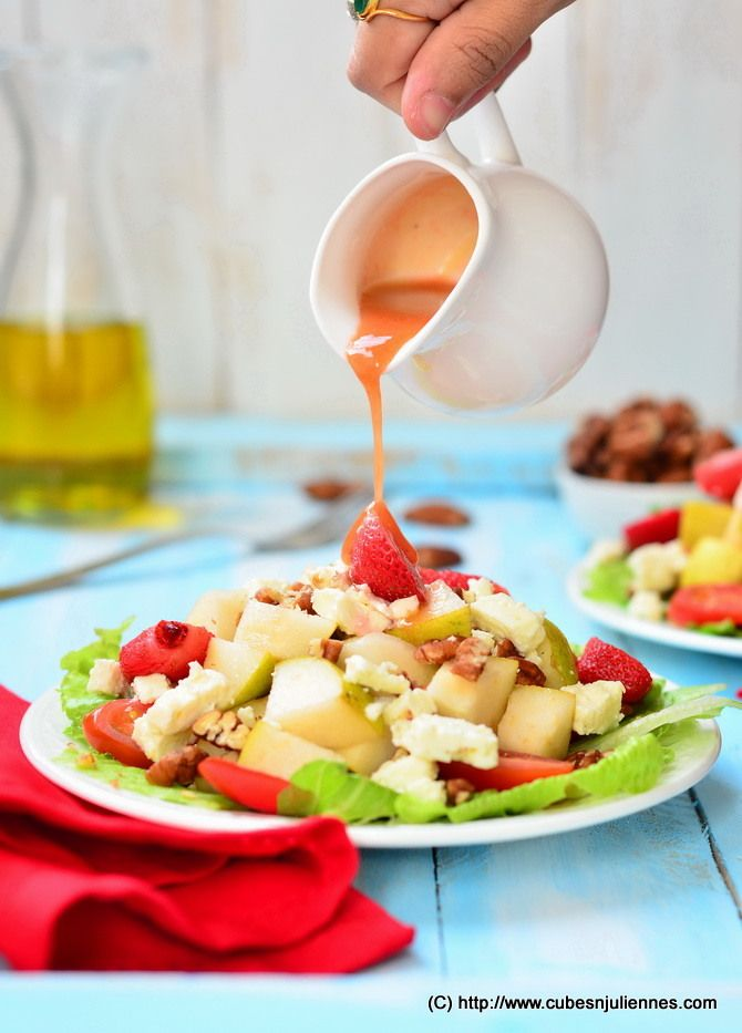 Pear Pecan Feta Salad with Balsamic Strawberry Dressing