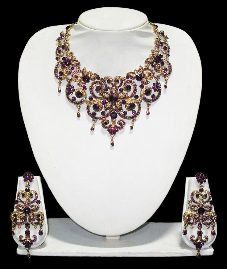 Innovative Purple Necklace Set, Bridal Jewelry, Bridal Wedding Jewelry, Indian Jewellery, Traditional Jewellery, Bollywood Party Wear Jewellery, Necklace Sets, Exclusive Online Jewelry, Indian Jewellery Exporters.