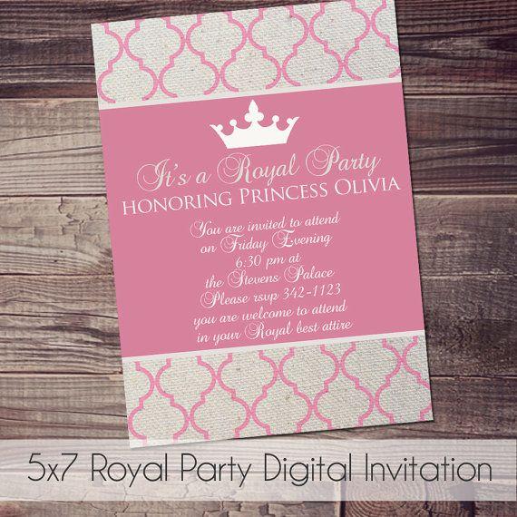 Royal Princess Party Digital Invitation FREE wording customization on Etsy, $8.00