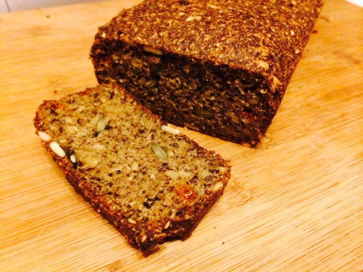 Seeded, Low-carb / Paleo, Gluten free Bread      1 cup ground flax seeds    1/2 cup coconut flour    3/4 cup psyllium husks 1/2 cup desiccated flour 1 cup mixed seeds (I used pumpkin, sunflower, flax  added goji berries)    6 large eggs  1 cup water   1 cup milk  3 tbsp olive oil 2 tsp baking powder    1 tsp salt   1 tsp baking soda   Mix dry ingredients, grind flax seeds with coffee grinder or roast in oven.   Mix wet ingredients.  Combine.   Leave to stand for 20min  Bake at 190C for 45min