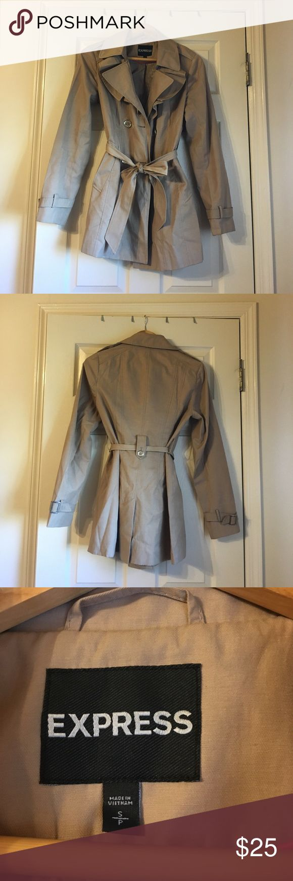Express Beige Trench/ Rain Coat Express rain coat with pockets and tie to go with it Express Jackets & Coats Trench Coats