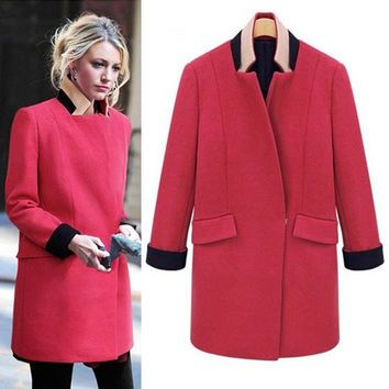 Colorblock Collar Pink Wool Coat-Size L