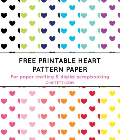Free Printable Heart Pattern Paper from @chicfetti