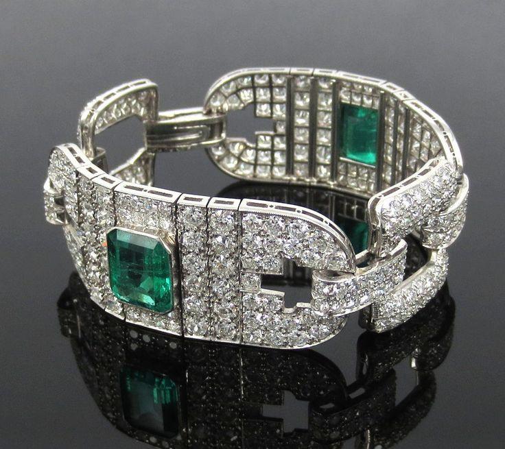 Certified Art Deco 16.0ct Old Cut Diamond & 10.0ct Emerald Platinum Bracelet #ArtDeco