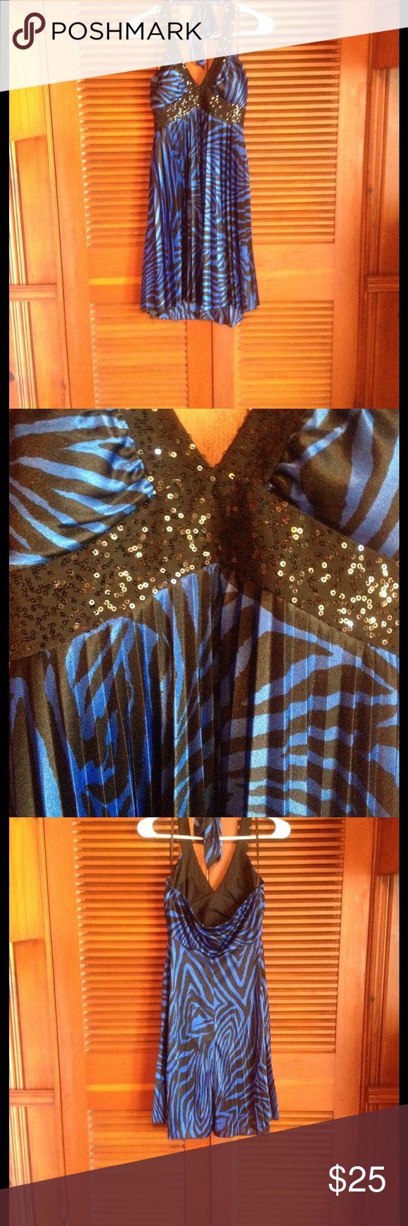 Halter dress B Smart juniors sz5/6 halter dress. Blue and black zebra pattern. Has padding in bust area. B Smart Dresses
