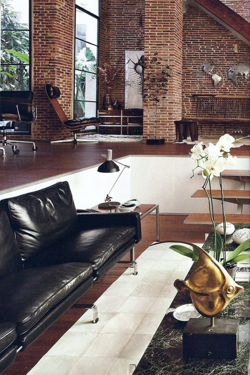 Sunken Living Room Loft Rooms Spaces Decorating Ideas Decor Apartment Brick Wall Bricks