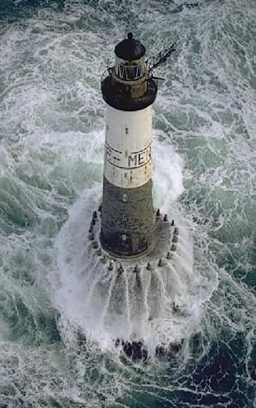Lighthouses of Iroise. Phare d'Ar Men, à l'extrémité de la Chaussée de Sein. Brittany