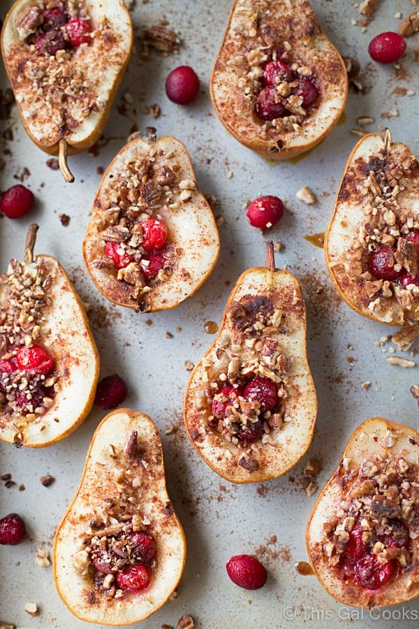 Baked Pears with Honey, Cranberries and Pecans #Pears #Honey #Cranberries #Pecans #Healthy