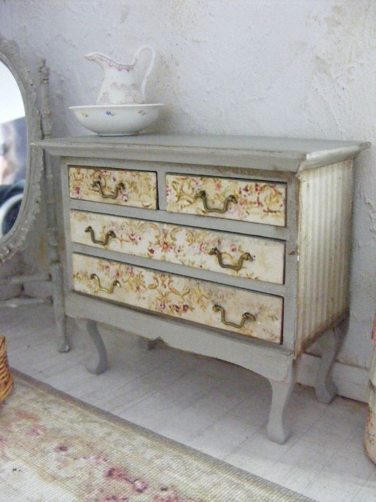 Miniature shabby chic chest of drawers-12th by shabbychicminis