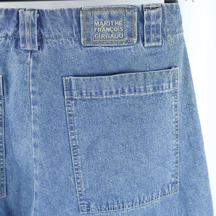 Marithe Francois Girbaud Jeans Mens Cargo Style Blue Straps 1990s Sz 34M #MaritheFrancoisGirbaud #BaggyLoose