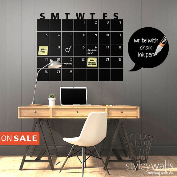 Chalkboard  Calendar Wall Decal Chalk Board Wall by styleywalls