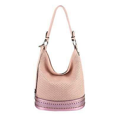 DAMEN TASCHE Hobo-Bag Handtasche Leder Optik Niete…