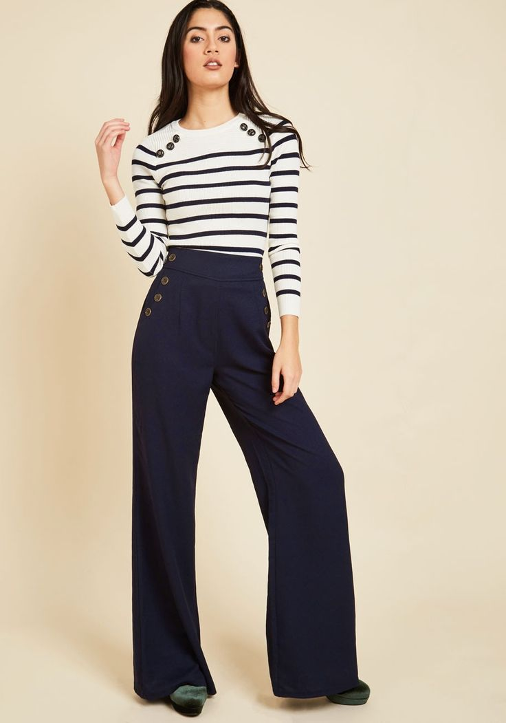 Every Opportunity Pants in Navy | Mod Retro Vintage Pants | ModCloth.com  You take any opportunity to go above and beyond so today, you apply your next-level attitude to your style by wearing these wide-legged navy trousers. The bronze sailorette buttons lining the pockets are your medallions of honor for forward-thinking!