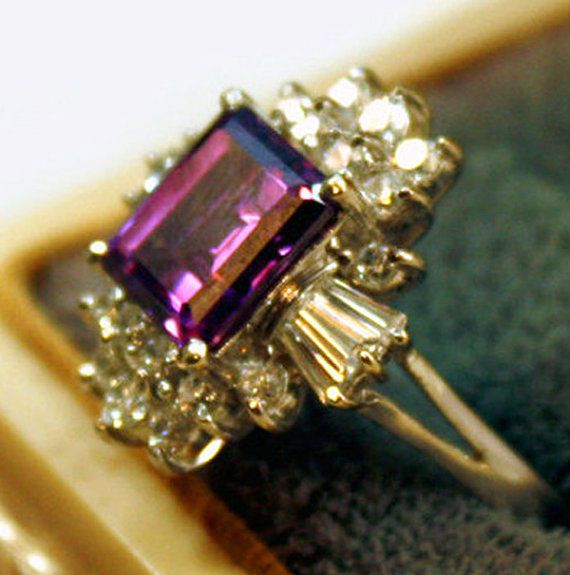 Vintage Gold Amethyst Ring 14 karat white gold ring womens cocktail heirloom estate ring fine jewelry jewellery size 9 isj