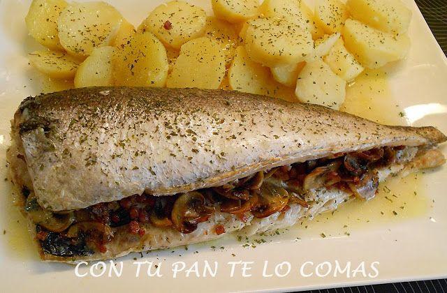 Pescadilla rellena de champiñones al horno, deliciosa!
