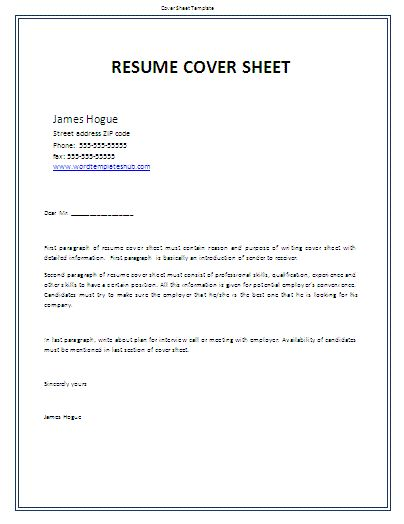 resume cover sheet template microsoft word page fax