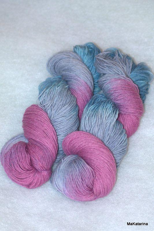 Hand dyed yarn cherry pink yarn handpainted by MaKatarinaCorner