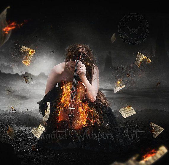 Gothic Fantasy art Burning violin artwork by EnchantedWhispersArt