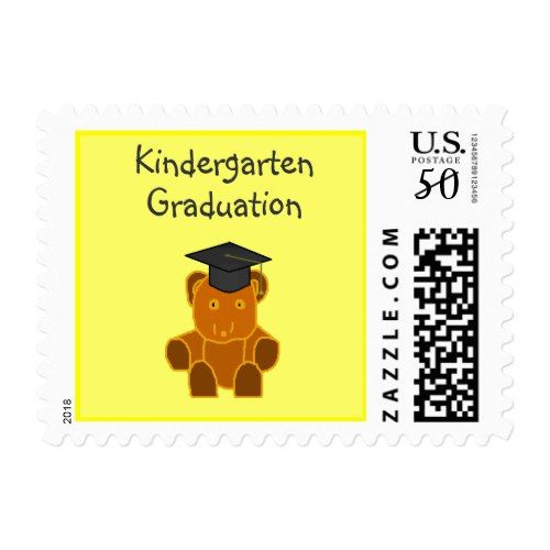 Graduation Bear -pink -postage stamps