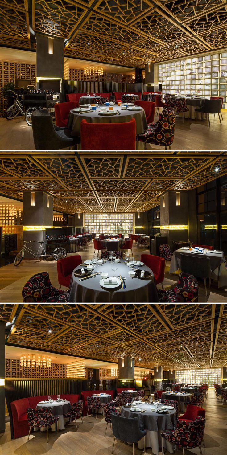 Ceiling Feature at Open Dinning Area of Cantonese Fine Dining Restaurant Y2C2 by Kokaistudios