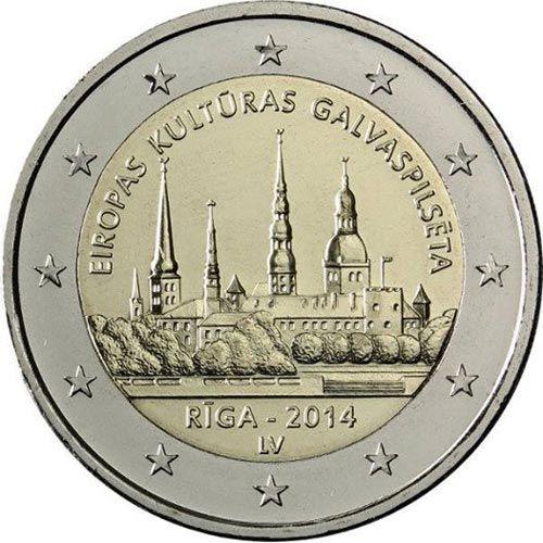 moneda conmemorativa 2 euros Letonia 2014., Tienda Numismatica y Filatelia Lopez, compra venta de monedas oro y plata, sellos españa, accesorios Leuchtturm