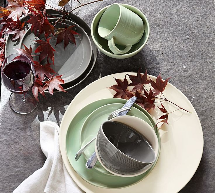 Set your table in style! We love using neutral dinnerware year round — soft gray goes with just about everything.