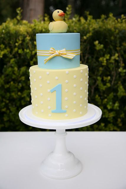 first birthday cake, light blue and light yellow first birthday cake, rubber ducky first birthday cake