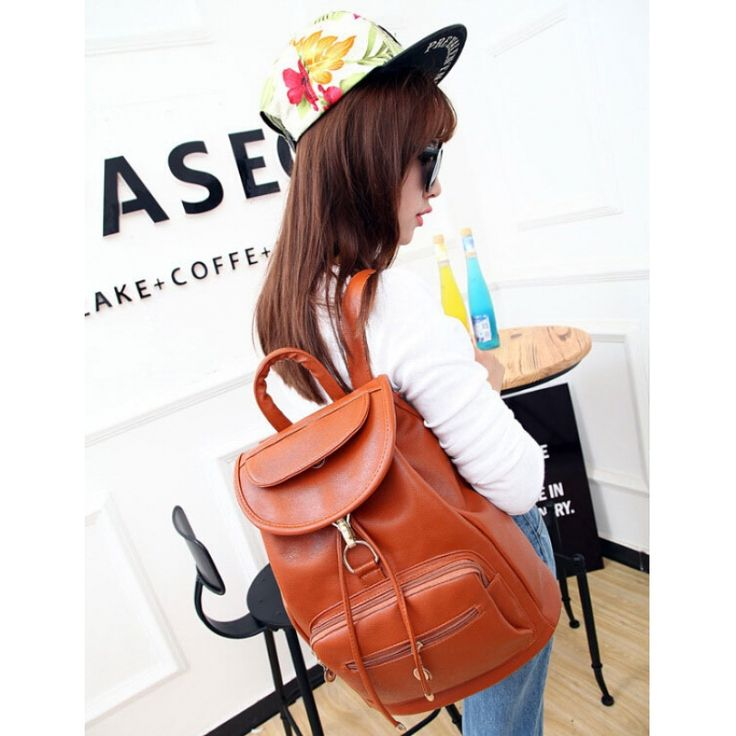 Unisex Korean Style Casual Pure Pattern PU Leather Backpack Brown