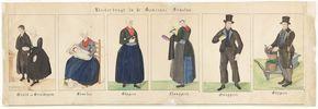 Kleederdragt in de gemeente Ermeloo 1845-1855 naast elkaar zes afbeeldingen van personen, v.l.n.r. bruid en bruidegom, boerin in Ermelo met haar kraamkind, boerin in Elspeet in haar zondags gewaad, boerin uit Nunspeet in feestgewaad, boer uit Nunspeet, boer uit Elspeet. kunstenaar:   Haasloop Werner, Heinrich Gottfried #Veluwe #Gelderland #oudedracht #Nunspeet