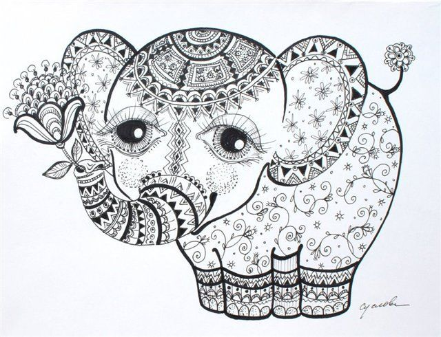 108 best dessin mandala images on pinterest mandala coloring coloring pages and online coloring - Dessin elephant ...